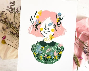 Lino print wildflowers flowers girl, portrait plants woman colorful, wildflower colorful linoleum, botany vintage 30x40 art, girls nursery