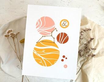 Linocut print Leo zodiac sign abstract art, geometric shapes poster, boho style print interior decoration, minimalist wall decor