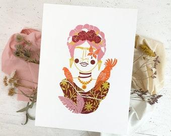Linocut print Frida Kahlo painter, 30x40 wall decor pioneer portrait, Mexican culture folklore, original modern art colorful linoleum