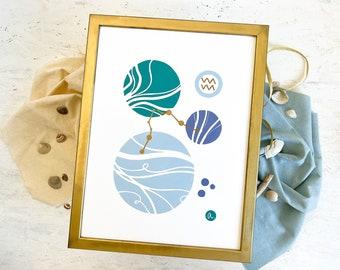 Linocut print Aquarius zodiac sign abstract art, geometric shapes poster, boho style print interior decoration, minimalist wall decor