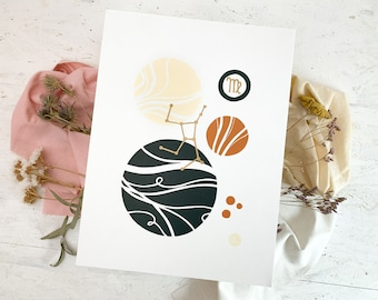 Linocut print Virgo zodiac sign abstract art, geometric shapes poster, boho style print interior decoration, minimalist wall decor