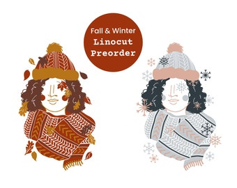 Linocut print hygge autumn winter mood, women portrait with autumn leaves snowflakes scarf and hat, illustrative lino block print