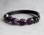 Amethyst bracelet for women February birthstone bracelet Healing bracelet Everyday minimalist purple amethyst bracelet Gift ideas for her