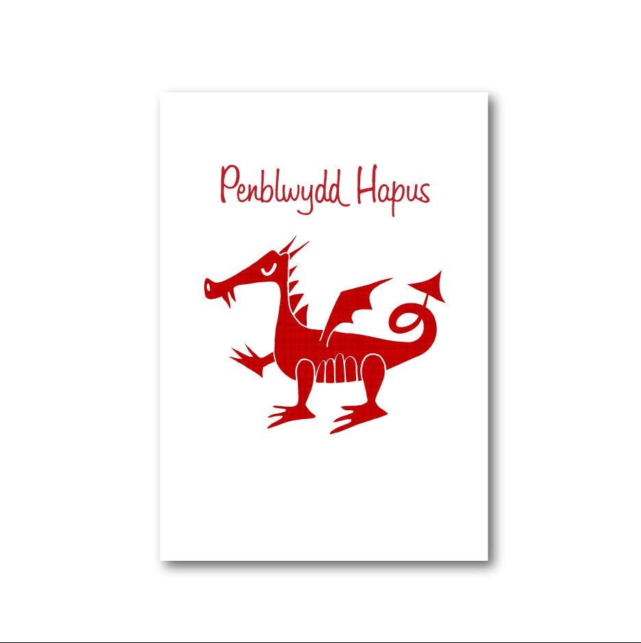 WELSH DRAGON Birthday Card. Penblwydd Hapus. Cardiau Cymraeg