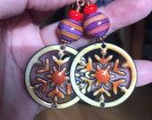 Amish Quilt Design Enamel pendant, lampwork beads, Stripes,