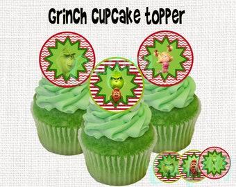 Grinch Digital Cupcake Topper Sticker Label Tags