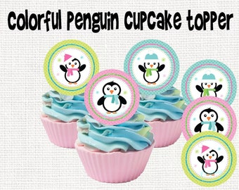 Penguin Digital Sticker Cupcake Topper Tags Labels