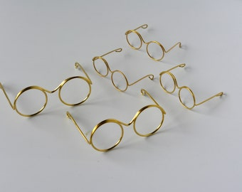 b6980c656b35 12 pair-Craft Doll Metal Wire Rim Eye Glasses  Gold Brass Metal Wire Rim  Eye Glasses  Teddy bear Metal Wire Rim Eye Glasses