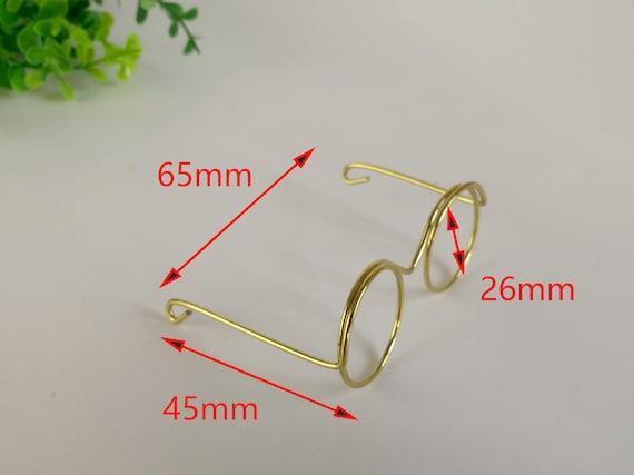"4 Pair 2/"" Miniature Gold Brass Metal Wire Rim Eye Glasses w// Lenses Dolls Santa"