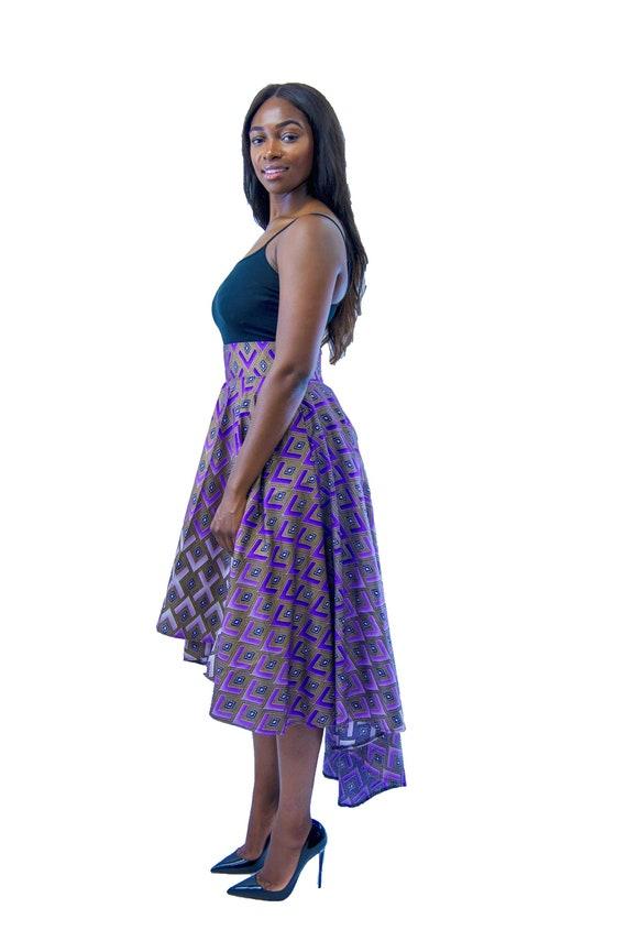 406d23685dc Womens Ankara African Print High Low Skirt