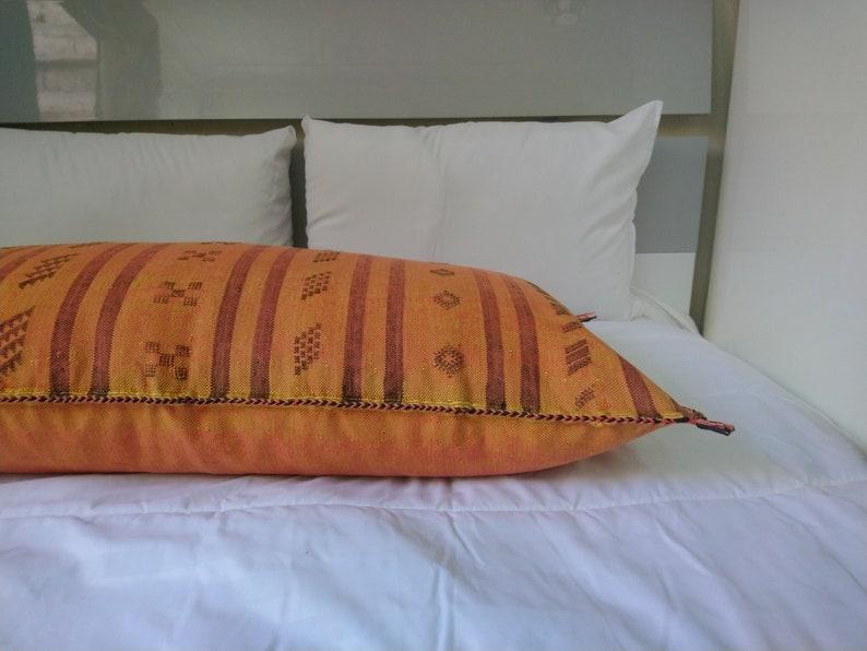Moroccan Cactus Silk Pillow Cover Handmade Cushion Sabra pillow Berber Pillow Bohemian Handwoven Lumbar Pillow 18x 37 in SP294 aprox