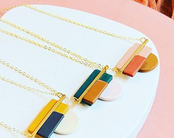 hypoallergenic Polymer clay women/'s necklace Christmas gift modern geometric necklace