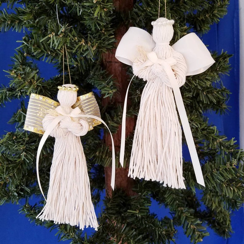 Tobacco Twine Angel Handmade Christmas Ornament image 0