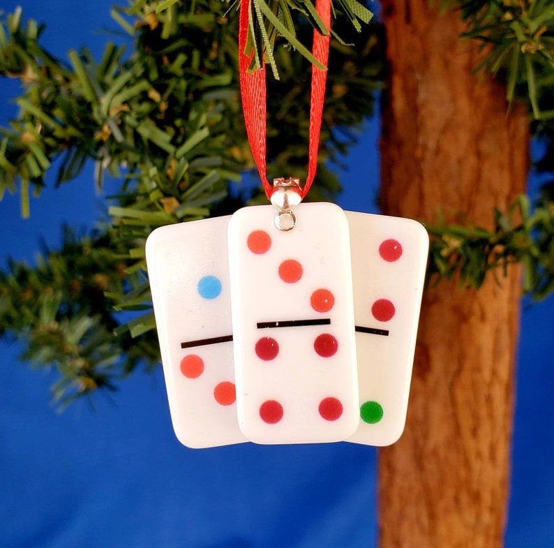Handmade Dominoes Game Christmas Tree Ornament image 0