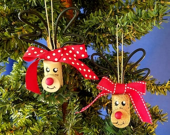Wine Cork Rudolph Handmade Christmas Ornament