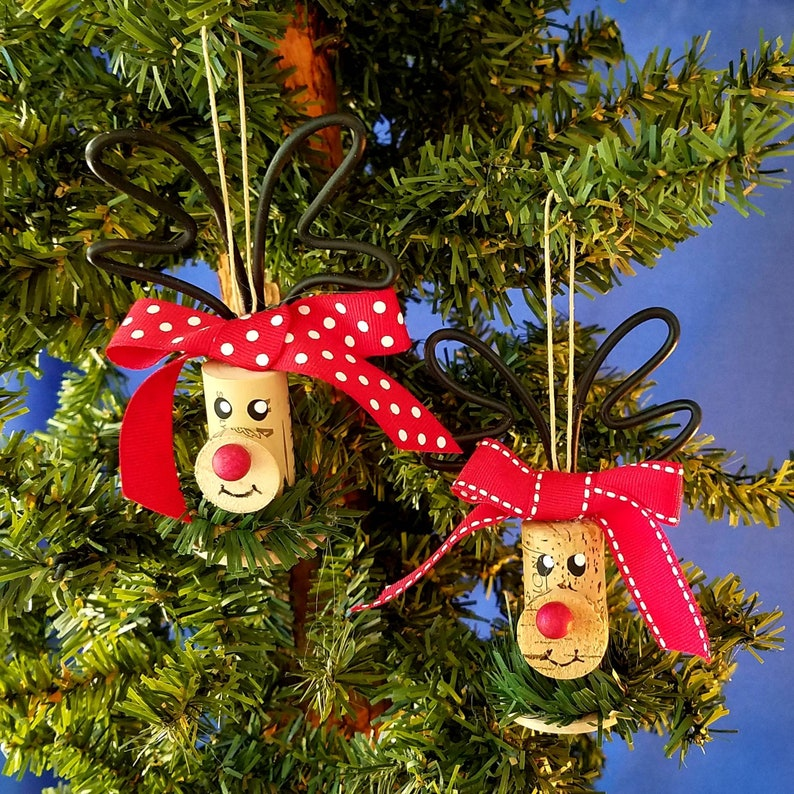 Wine Cork Rudolph Handmade Christmas Ornament image 0