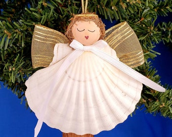 Scallop Shell Angel Handmade Nautical Christmas Ornament, Beach Decor