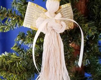 Tobacco Twine Angel Handmade Christmas Ornament