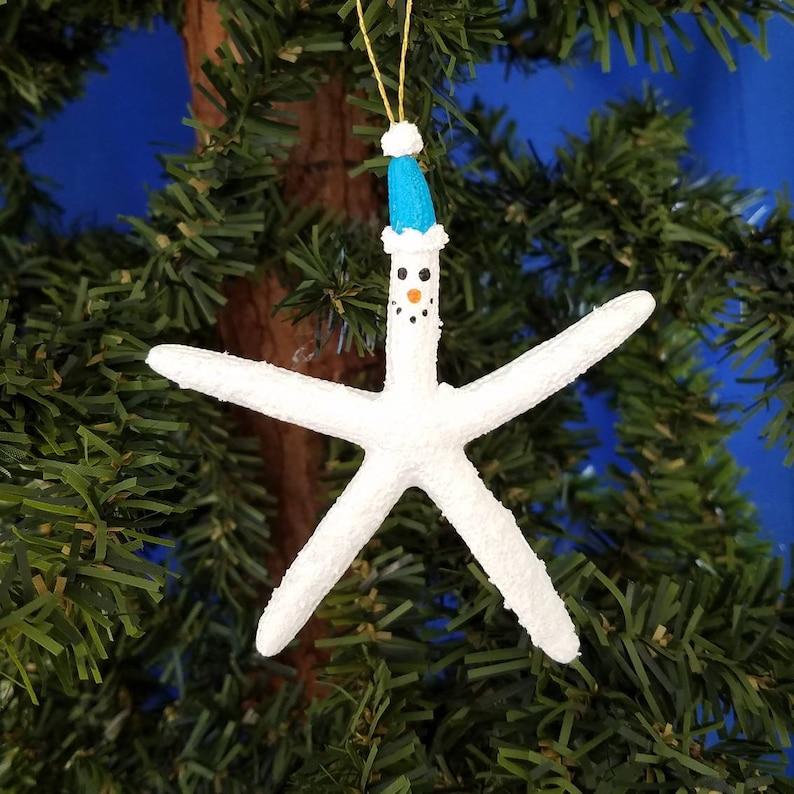 Starfish Snowman Handmade Nautical Christmas Ornament image 0