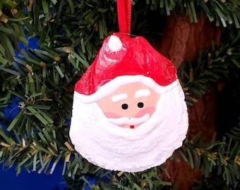 Oyster Santa Handmade Shell Nautical Christmas Ornament, Beach Decor