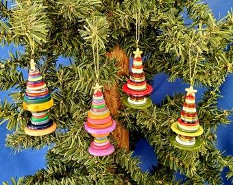 Handmade Button Tree Christmas Ornament