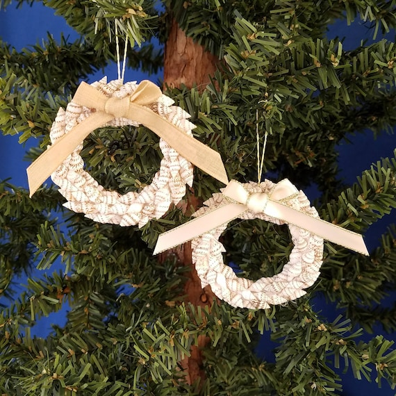 Nautical Christmas Wreath.Shell Wreath Handmade Nautical Christmas Ornament