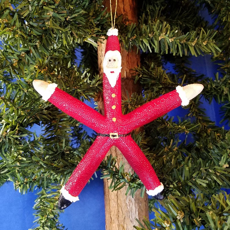 Starfish Santa Handmade Nautical Christmas Ornament image 0