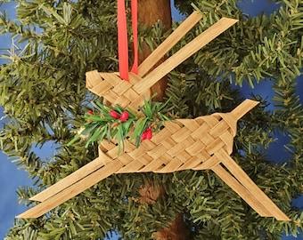 Scandinavian Woven Reindeer Deer Handmade Christmas Ornament
