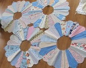 Lot of FOUR Darling Vintage Multicolored and Blue Dresden Plate Quilt Blocks 13.5