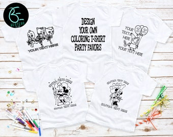 02fa6b61e Set of 5, 10, or 12 Personalized Design Your Own Character Coloring T-Shirt  Party Favors | Childs Party Gifts | Color Your Own