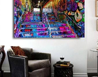 "Street art print  large satin photo melbourne hosier lane 36/""x24/"""