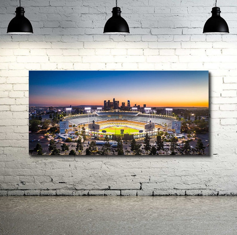 Sunset over Dodger Stadium Panoramic Print Glossy or Canvas 36 x 18