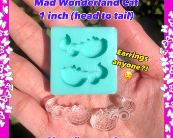 Alice in wonderland SHAKER mold Mad hatter mold Shakers Cheshire cat mold Resin mold Alice mold Keychain mold Card set mold