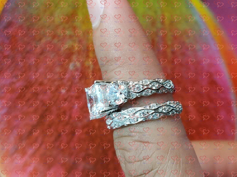 14K White Gold Plated Bridal Ring Set Gorgeous Engagement Ring Set 4.00 Ct Princess Three Stone Diamond Real 925 Sterling Silver