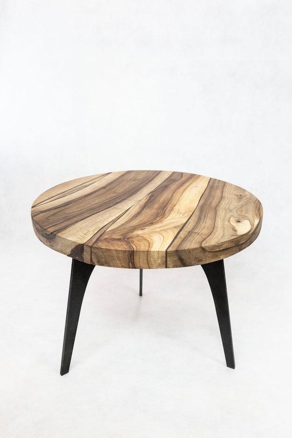 Solid Walnut Round Coffee Table 3 Steel Legs Etsy
