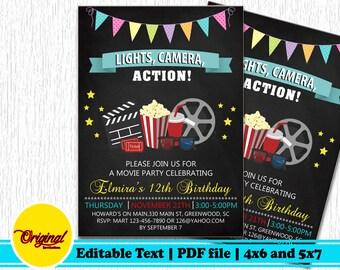 movie invitation etsy