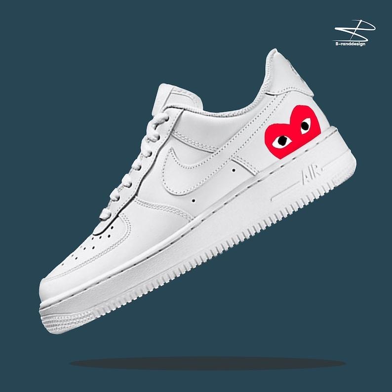 9c8b73f23 Nike Air force 1 Custom PLAY HEART free fast shipping dhl | Etsy