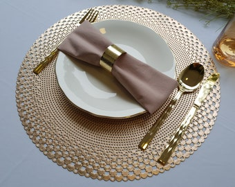 """Modern Round Placemats Non Slip Easy Care Vinyl Placemats Set of 4 15"""" Gold/Silver Place mat for dine table   Ideas Mother's Day Gift"""