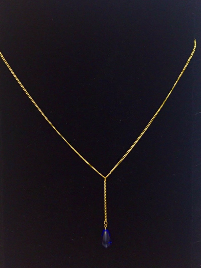 Hypoallergenic 14 k gold plated chain y necklace handmade