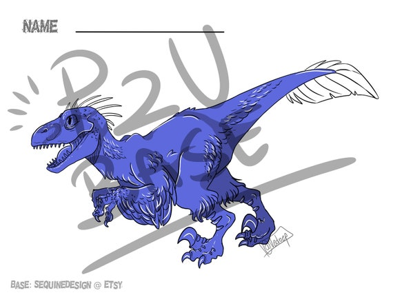 dinosaur raptor drawing base front and back view reference etsy etsy