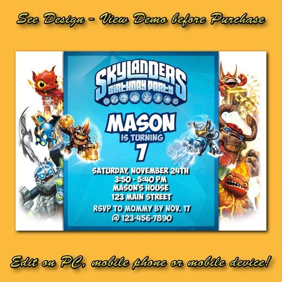 Skylanders Birthday Invitation Instant DownloadSkylanders