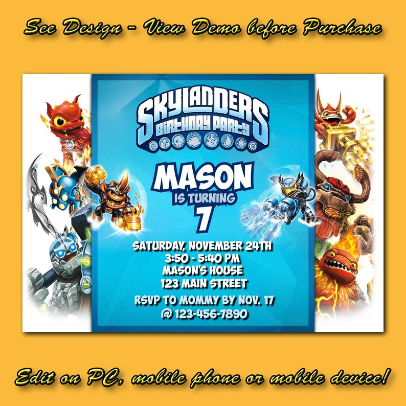 Skylanders Birthday Invitation Instant DownloadSkylanders