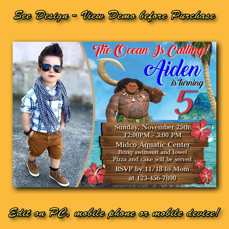 Maui Moana Birthday Invitation Instant Download