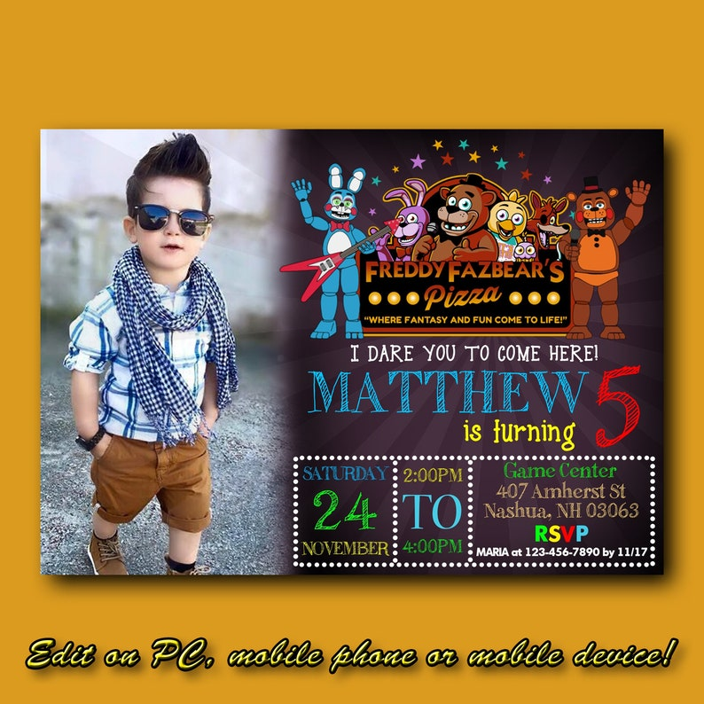 Five Nights At Freddys Birthday Party Invitations With