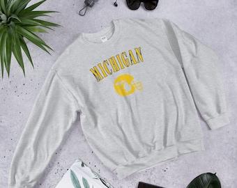 d0b0a0d76 Vintage Michigan University Crewneck Sweatshirt Gift for Men or Women