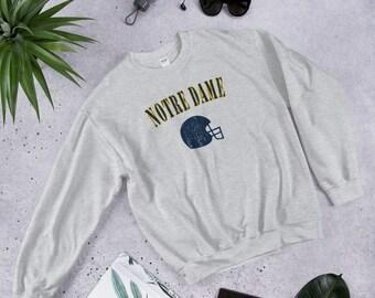 meet 0bd25 4d1b1 Vintage Notre Dame Football Crewneck Sweatshirt Gift for Men or Women