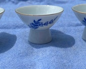 Set of 3 Gekkeikan Pedestal Sake Dishes Cups Blue and White Made in Japan