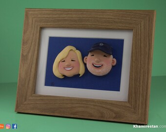 Custom Sculpture - Personalized Portrait Sculpture Of A Couple (Fully Handmade)