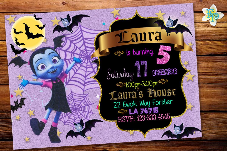 U PRINT DIGITAL FILE Vampirina Digital Invitation,Vampirina Party Invitation