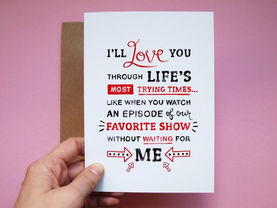 Blank Inside Funny Anniversary Card TV Show Love Card Hand Painted
